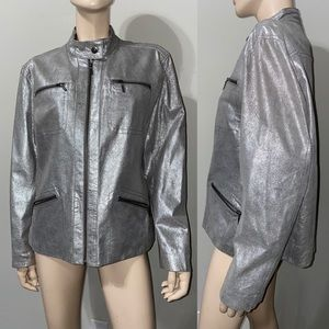 Chico's Metallic Silver Leather Jacket